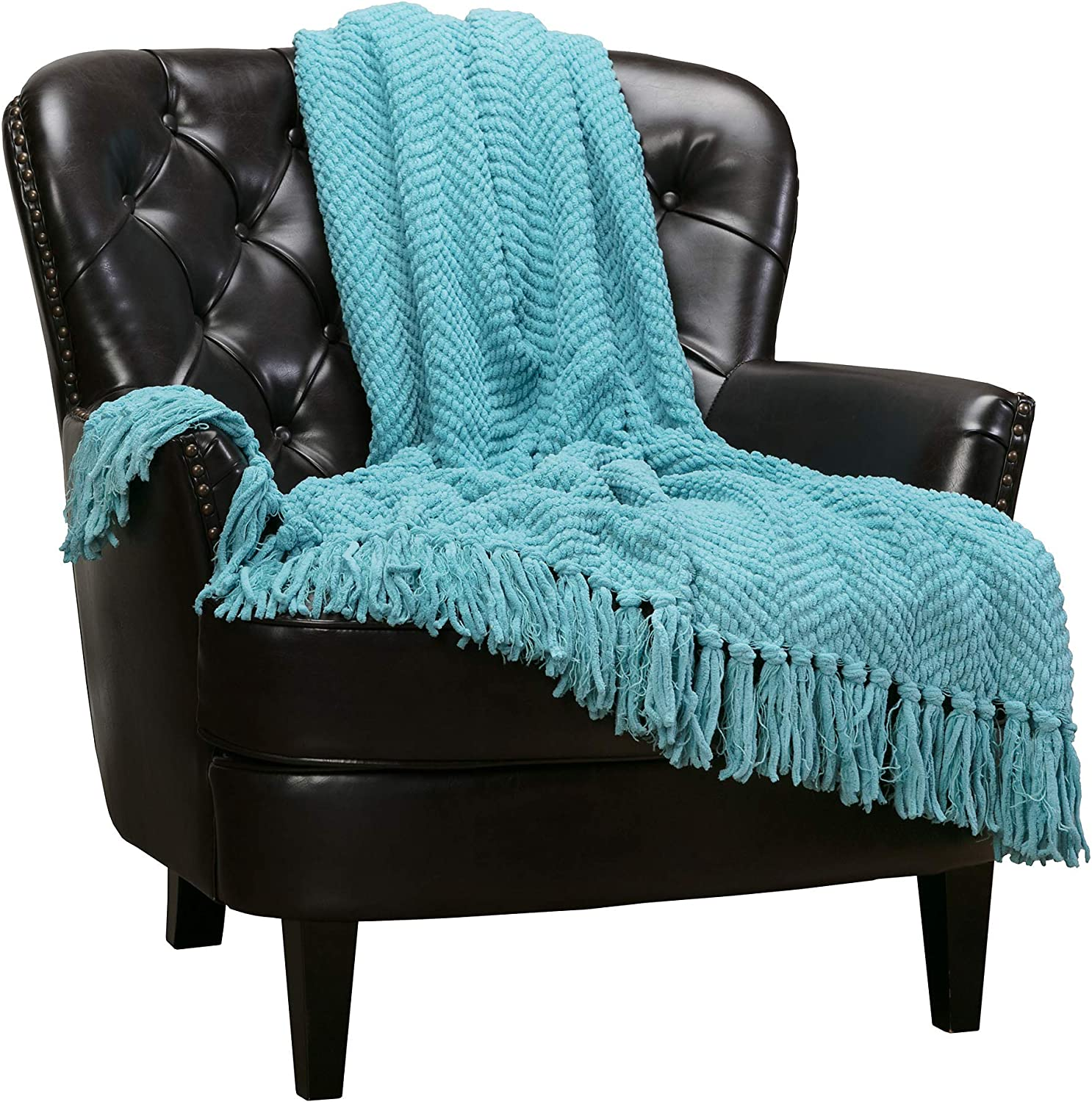 Chanasya Textured Knitted Super Soft Throw Blanket with Tassels Cozy Plush Lightweight Fluffy Woven Blanket for Bed Sofa Couch Cover Living Bed Room Acrylic Blue Throw Blanket (50x65 Inches) Aqua