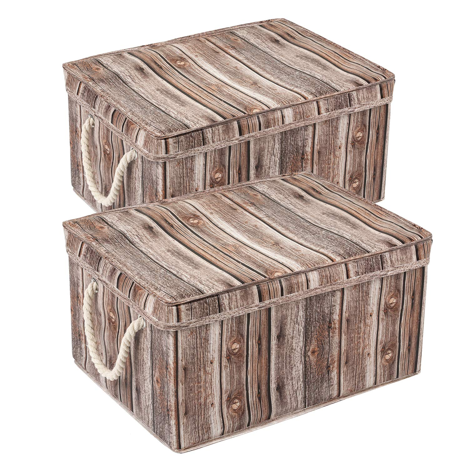 MaidMAX X-Large Cloth Storage Basket with Dual Cotton Handles and Lid, Foldable, Wood Grain Finish, Set of 2 by MaidMAX (Image #1)