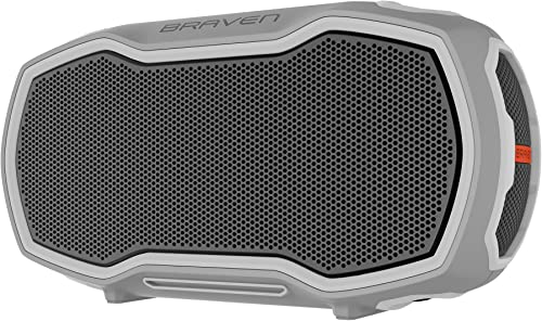 Braven Ready Elite Active Outdoor Portable Speaker Bluetooth Wireless 12-Hour Playtime Voice Control – Gray Gray Orange