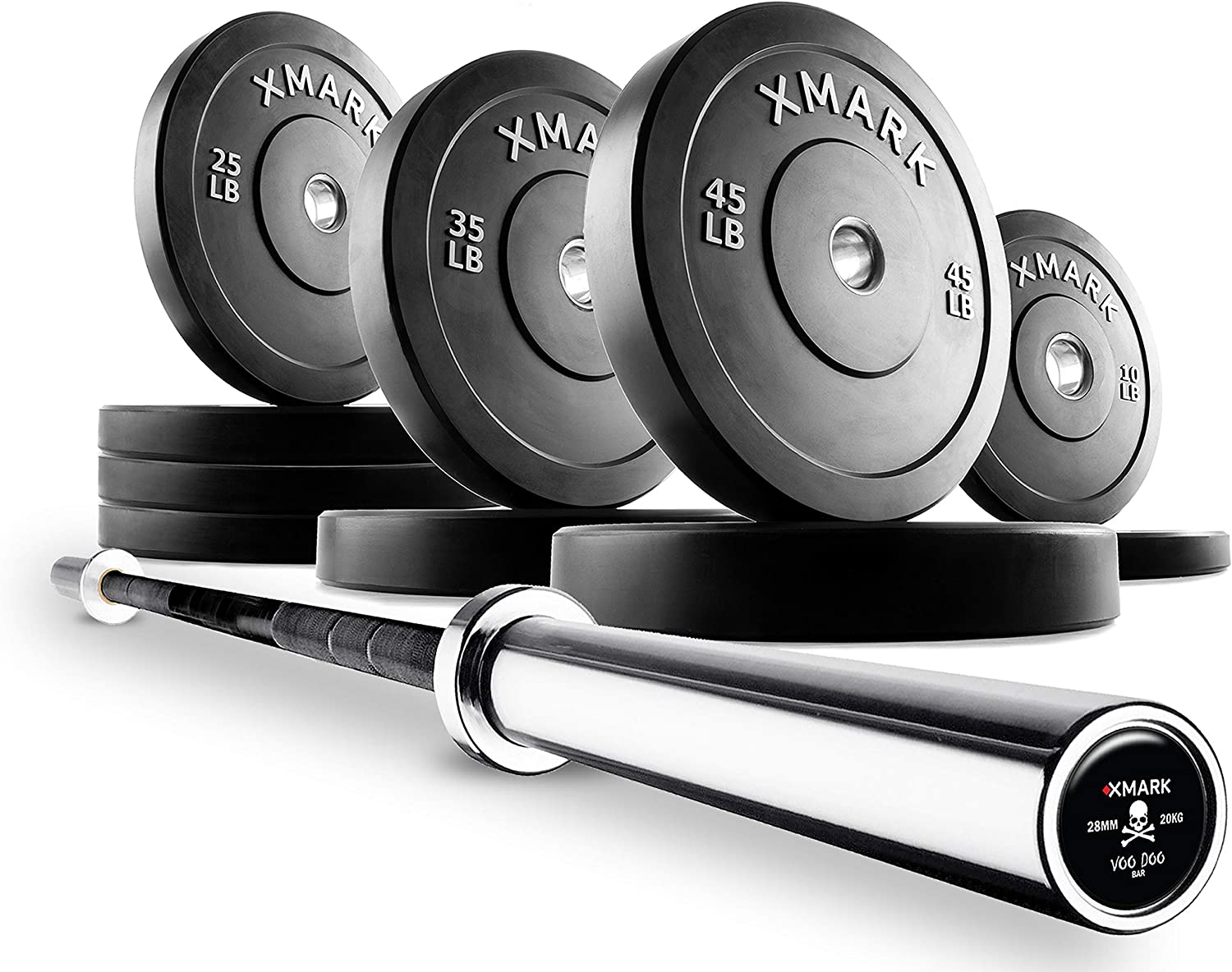XMark Deadlift Voodoo Commercial Olympic Bar and Slim Profile, Low Bounce Premium Olympic Bumper Sets, XM-3385