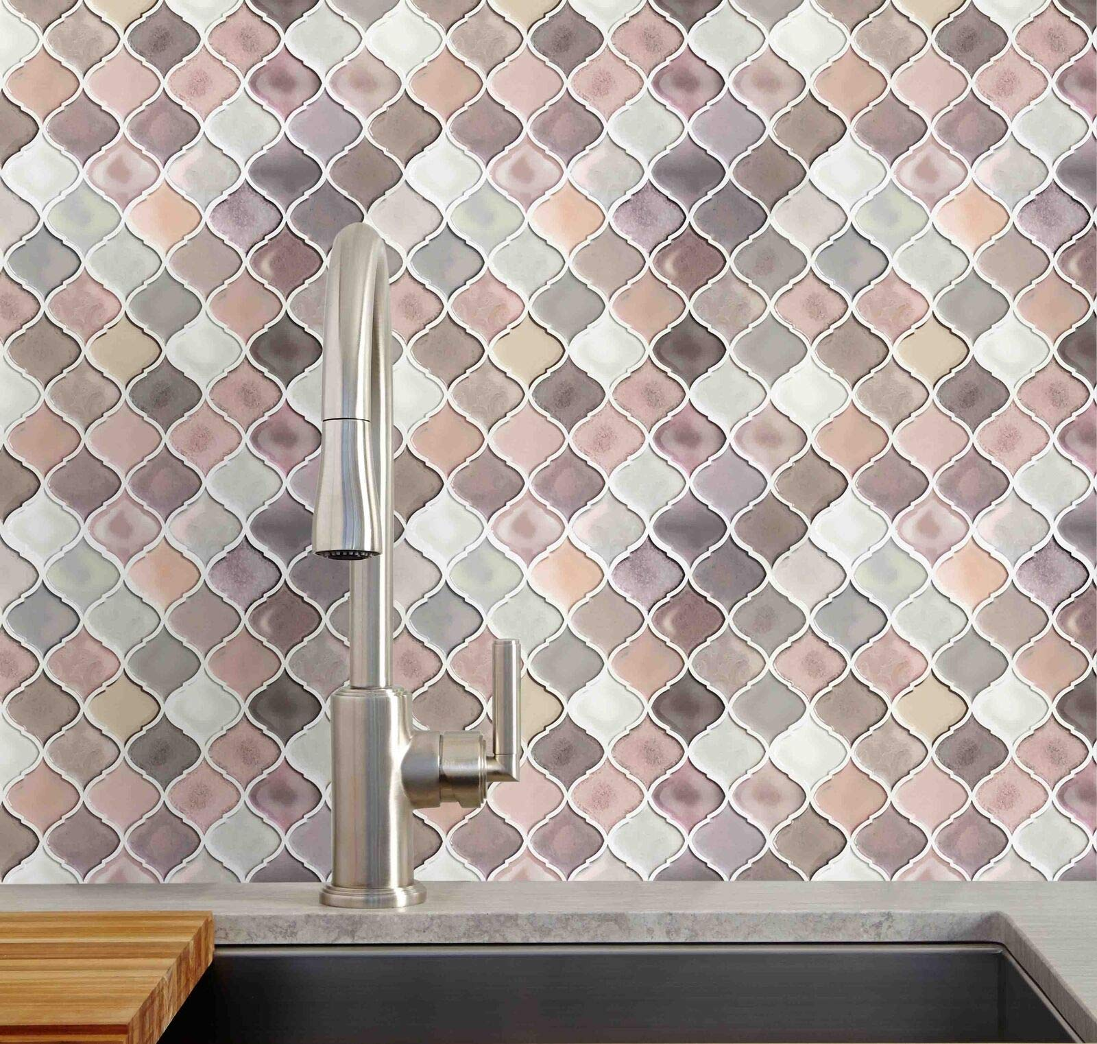 10 Pack Self Adhesive Wall Tile Arabesque Pink Peel and Stick Tile Backsplash by MB-THISTAR