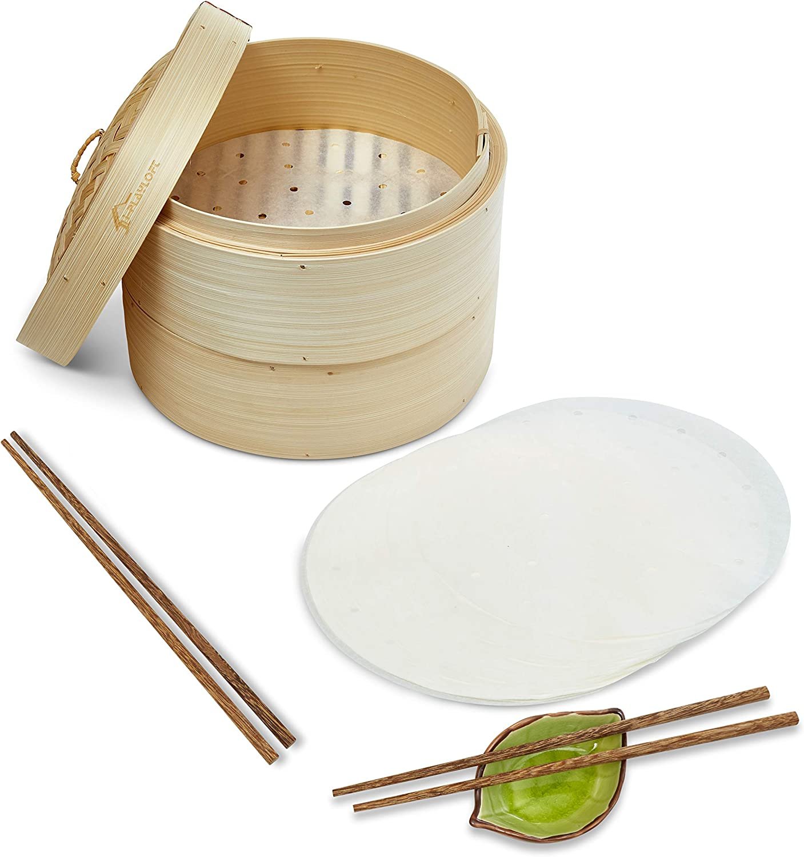 Premium Handmade Two Tier Bamboo Steamer Basket - Standard Depth - 10 Inch - Dim Sum Dumpling & Bao Bun Chinese Food Steamers - Asian Cooking Tools Set With Chopsticks & Sauce Plate - Steam Baskets For Rice, Vegetables & Fish