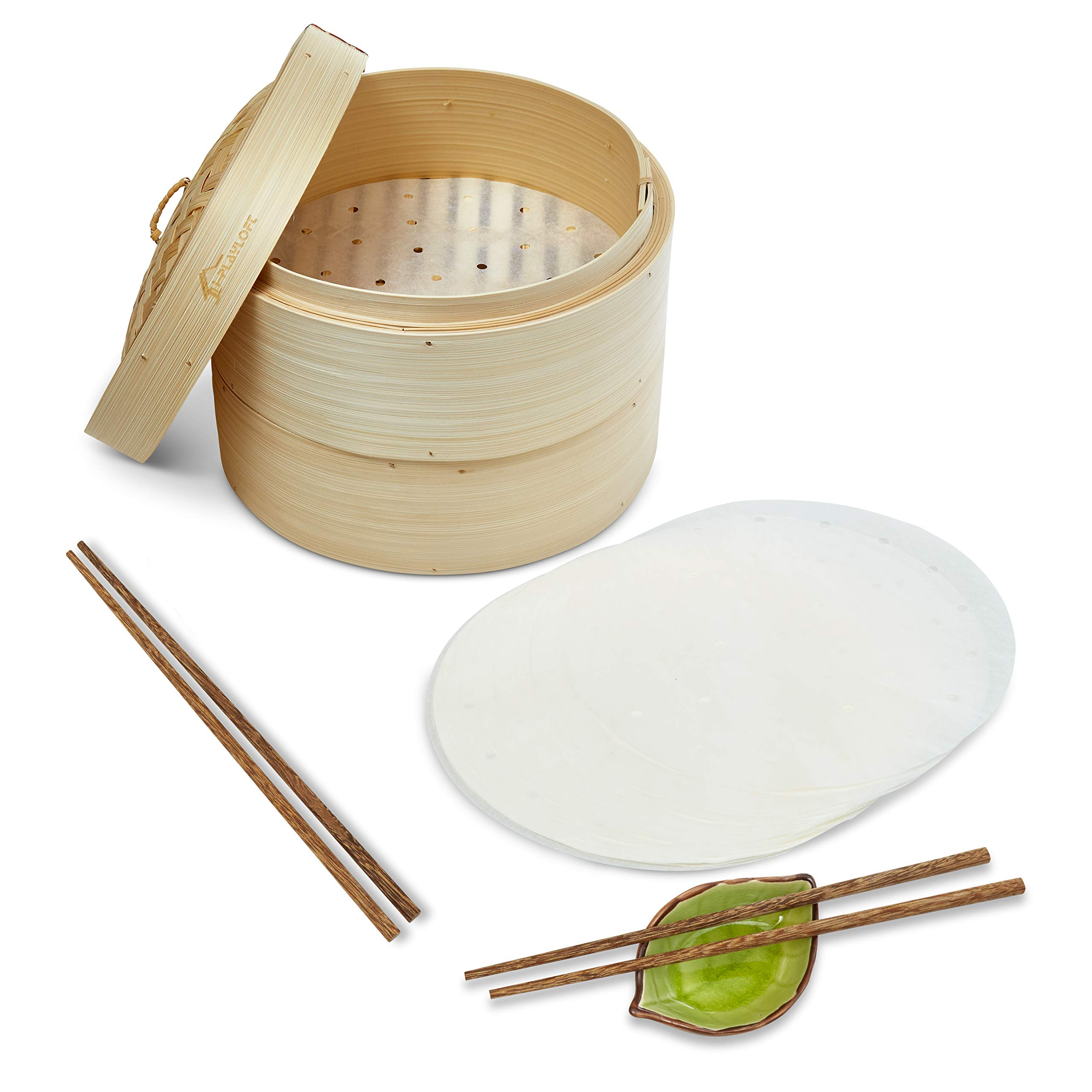Premium 10 Inch Handmade Bamboo Steamer - Two Tier EXTRA DEPTH Baskets - Dim Sum Dumpling & Bao Bun Chinese Food Steamers - Steam Baskets For Rice, Vegetables, Meat & Fish Included 2 Sets Chopsticks, 20 Liners & Sauce Dish by i-PLAYLOFT