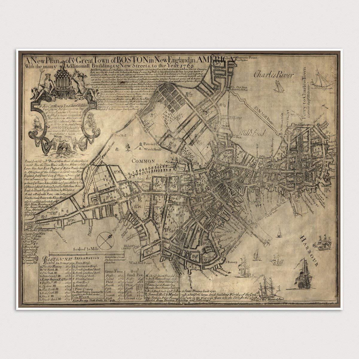 Antique Boston Map.Amazon Com Antique Boston Map Art Print Massachusetts 1769