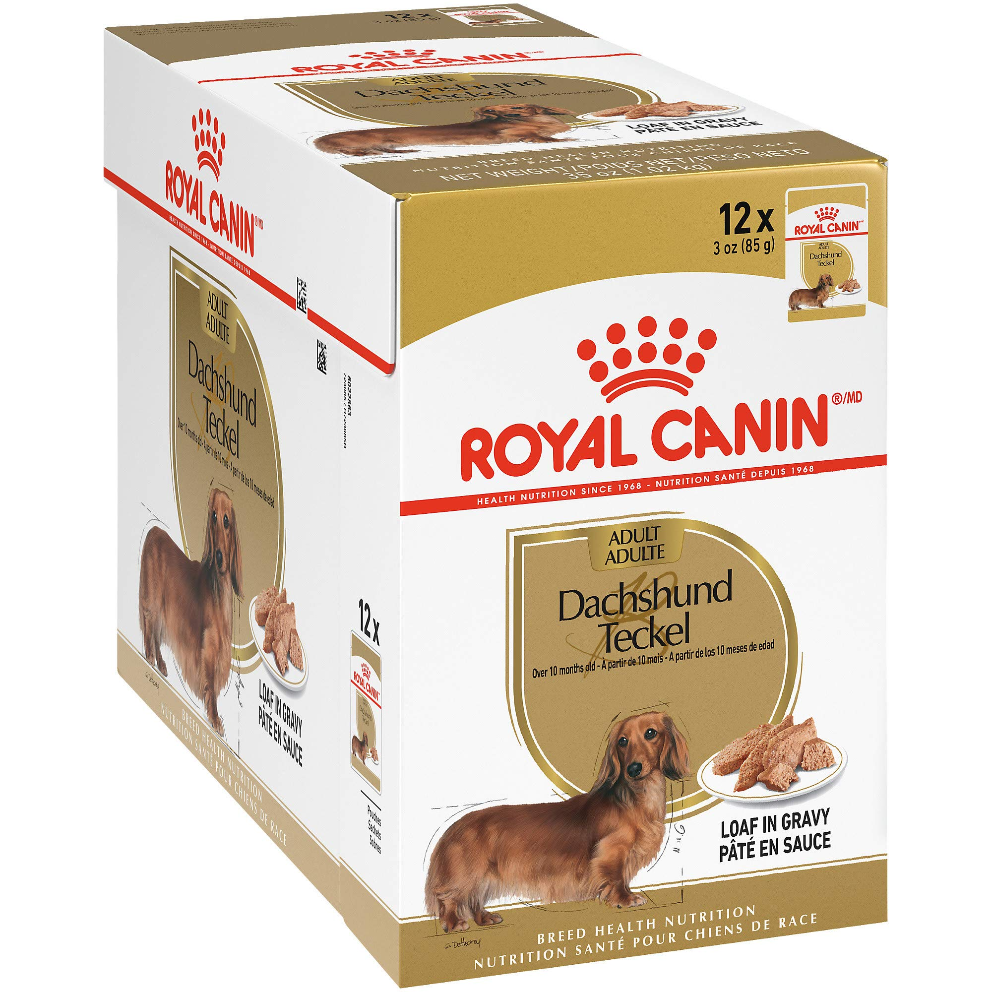 Royal Canin Breed Health Nutrition Dachshund Loaf in Gravy Pouch Dog Food, 3 oz Pouch (Pack of 12) by Royal Canin
