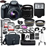 """Canon EOS Rebel T6 DSLR Camera with Canon 18-55mm IS II Lens Kit + Battery Grip + Canon Case + 64GB Memory + Filters + Macros + Monopod + 50"""" Tripod + Professional DSLR Bundle"""