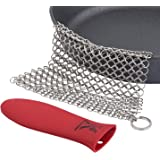 Stainless Steel Chainmail Scrubber XL 8x6, Cast-iron Cleaner + Silicone Hot Handle Holder