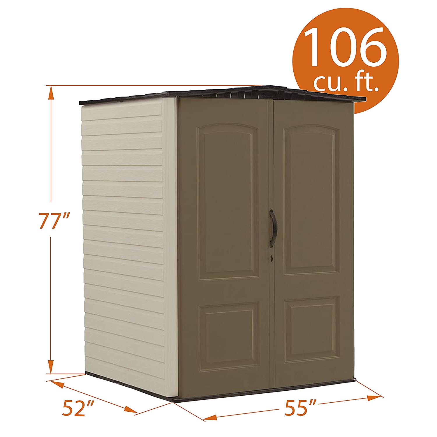 Rubbermaid Outdoor Vertical Storage Shed Plastic 17 Cu