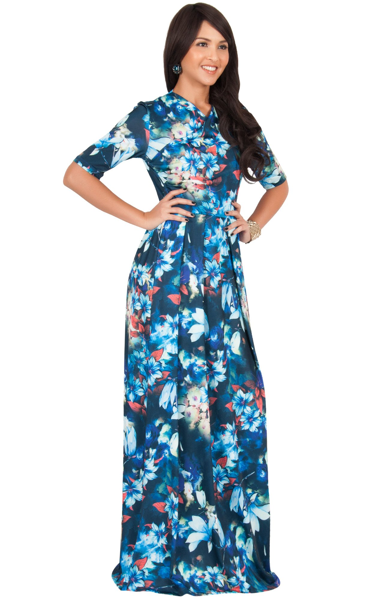 658f8c7c0b1d ... Summer Short Sleeve Floral Flower Print Printed Casual Party Elegant  Jersey Cute Sundress Gown Gowns Maxi Dress Dresses