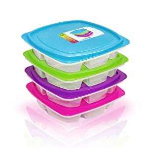 Happy Lunchboxes 4-compartment Bento Lunch Box Containers