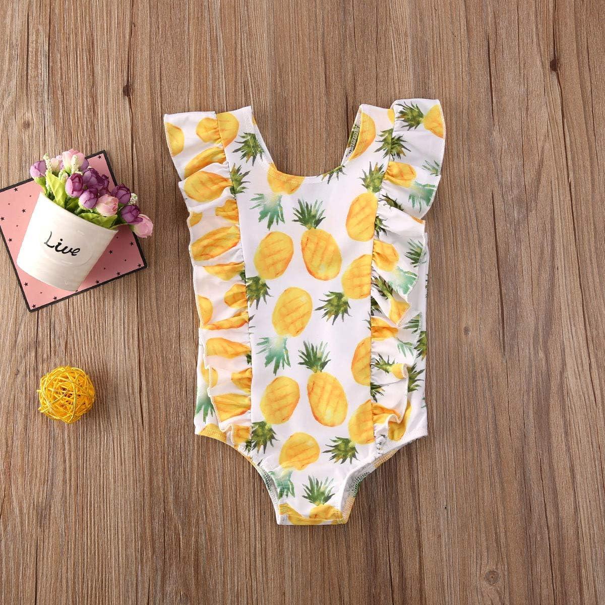 Merqwadd Toddler Baby Girls Cute Fashion Ruffle Swimsuit Kids Bathing Suit Beachwear