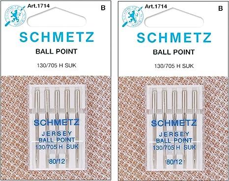 LOT OF 5 SCHMETZ JERSEY BALL POINT NEEDLES 130//705 H SUK 80//12 1714 NEW