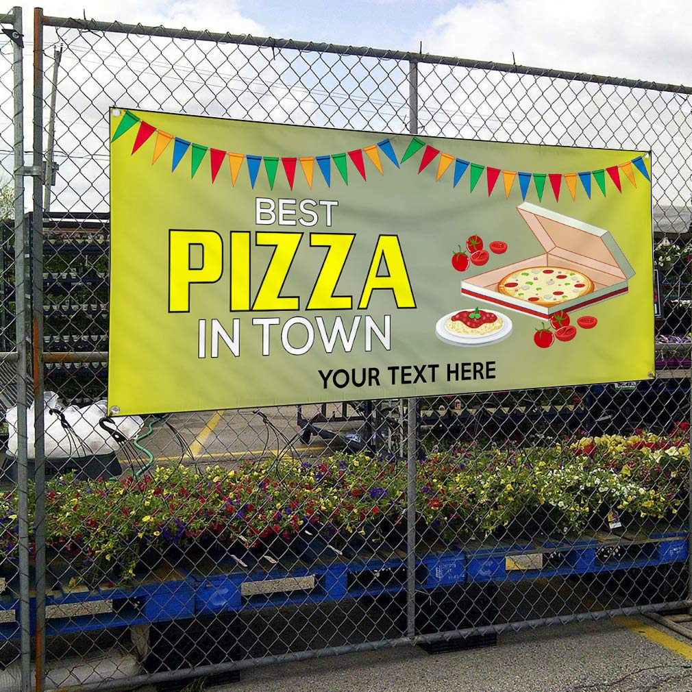Custom Industrial Vinyl Banner Best Pizza in Town Style B Personalized Text Here Yellow 24x48Inches