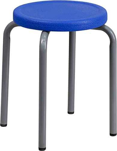 Flash Furniture Stackable Stool with Blue Seat and Silver Powder Coated Frame