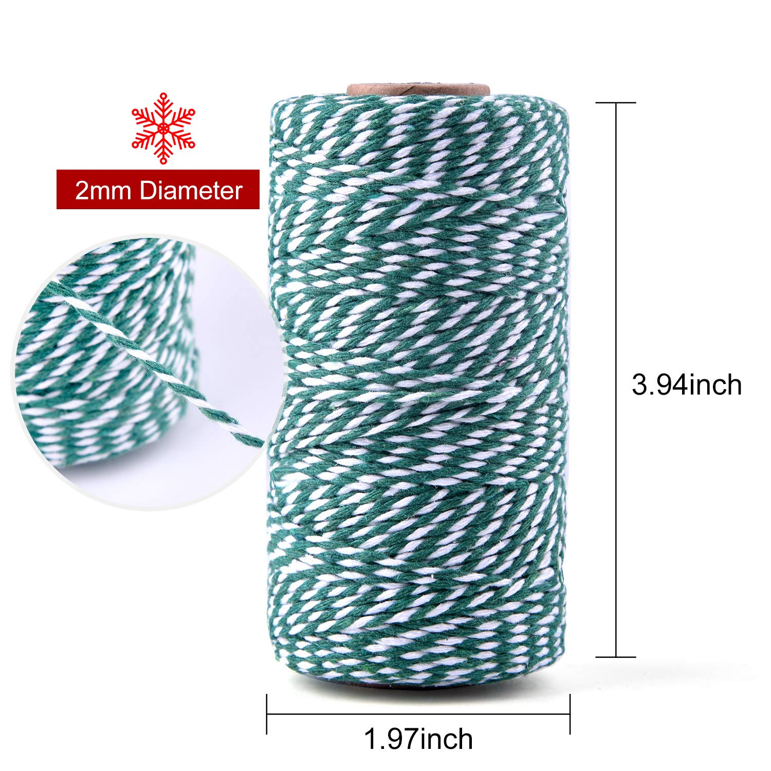 984 Feet Arts Crafts Zealor 3 Rolls Christmas Twine Cotton String Rope Cord for Gift Wrapping