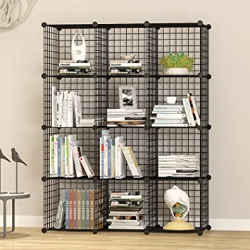 UNICOO   Multi Use DIY 12 Cube Wire Grid Organizer, Bookcase, Storage  Cabinet,