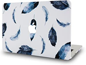 LuvCase Laptop Case for MacBook Air 13 Inch(2020/2019/2018) A2179/A1932 Retina Display (Touch ID)RubberizedPlasticHardShellCover (Black Feather)