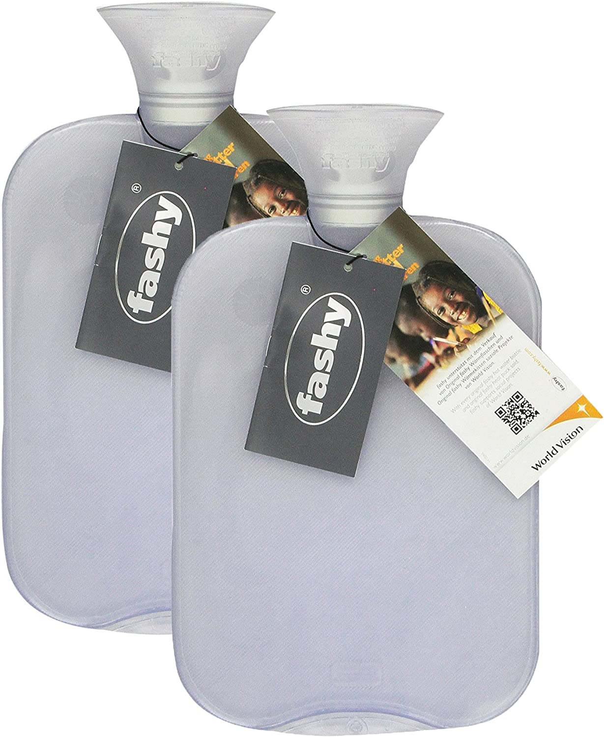 Transparent Classic Hot Water Bottle - Made in Germany (Clear- 2pk): Health & Personal Care
