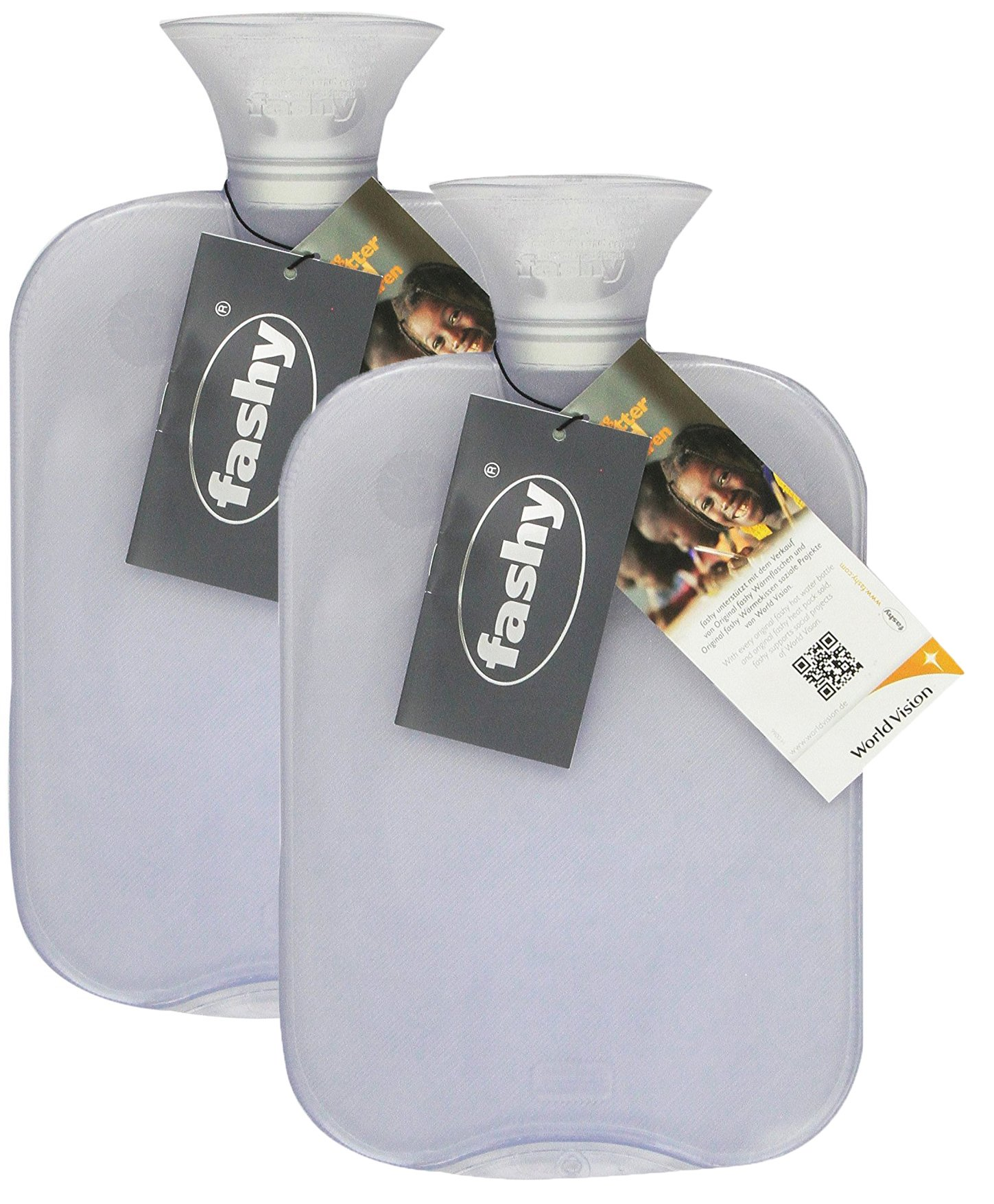 Transparent Classic Hot Water Bottle - Made in Germany (Clear- 2pk) by Fashy