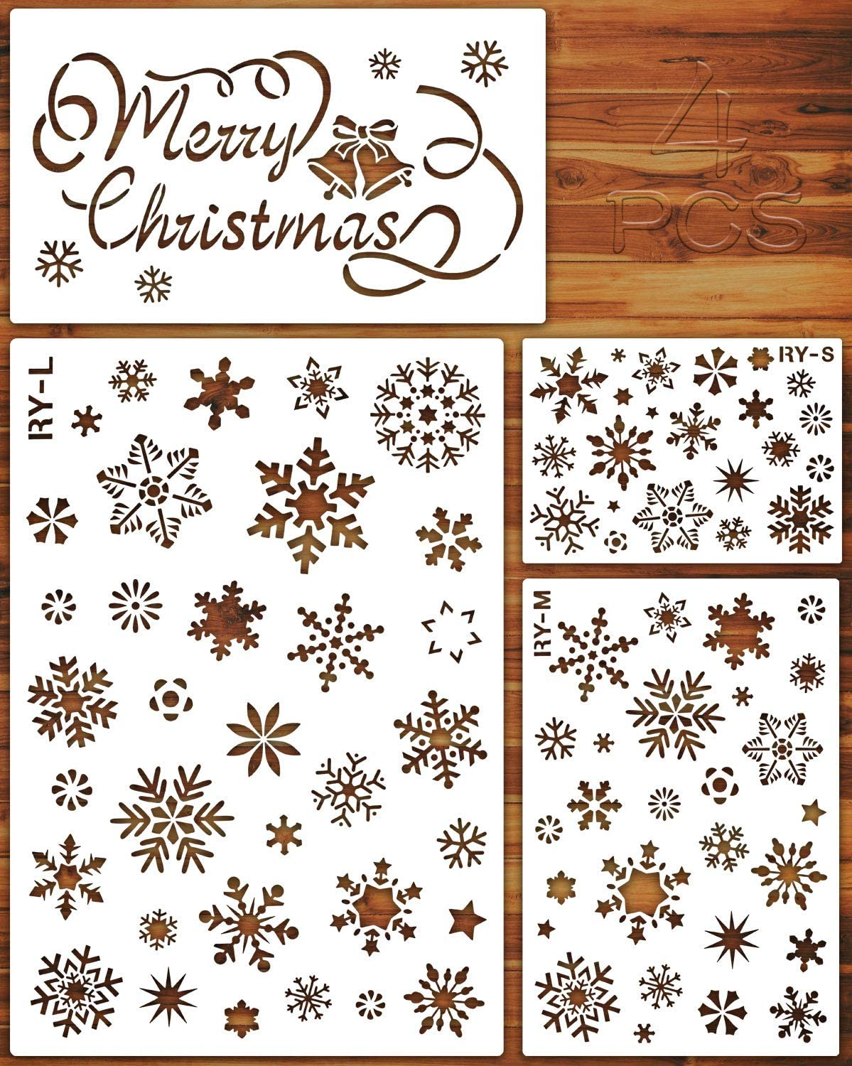 Konsait Large Christmas Snowflake Stencil Template,Reusable Plastic Painting DIY Crafts Templates,Xmas Snowflake Decor for Wood Window Glass Greeting Card,Cookies Cake,Biscuit,Dessert,Coffee Decor