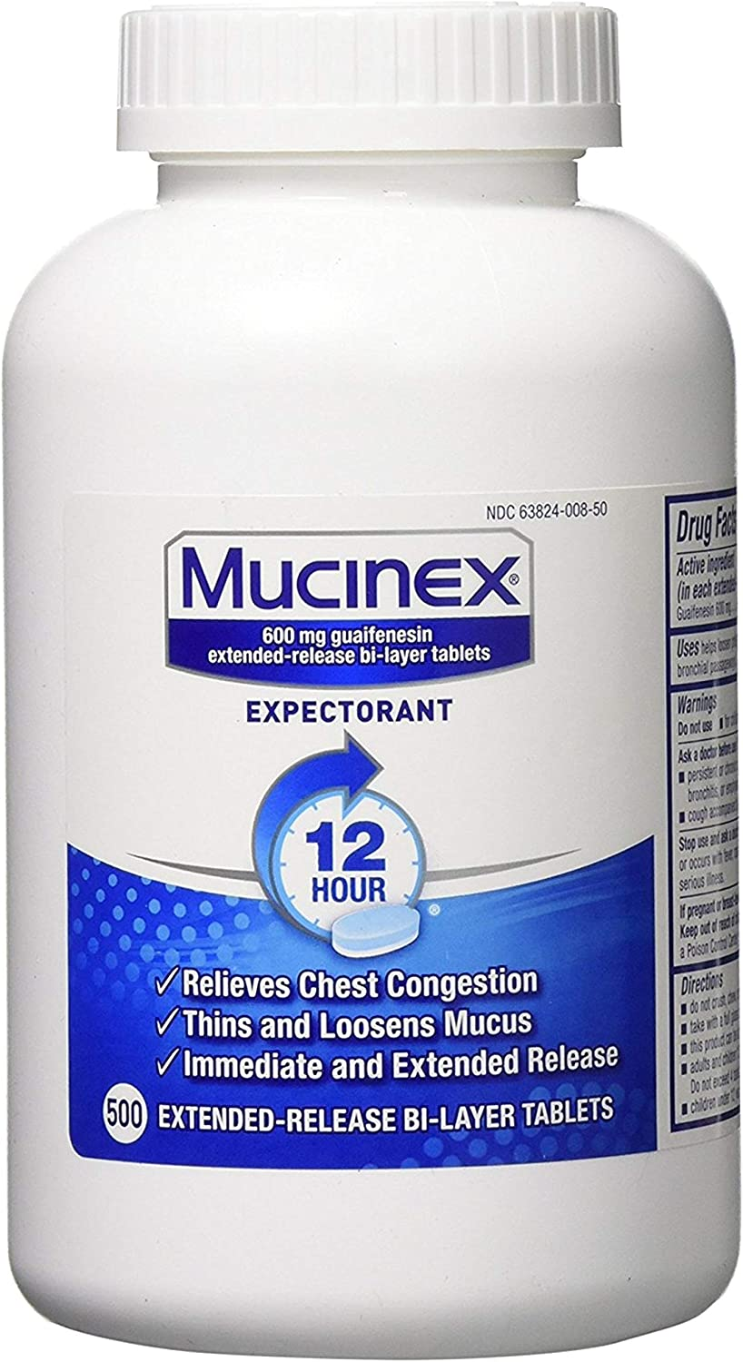 Chest Congestion, Mucinex 12 Hour Extended Release Tablets, 500ct, 600 mg Guaifenesin Relieves Chest Congestion Caused by Excess Mucus, #1 Doctor Recommended OTC expectorant