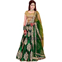 JB Fashion Women's Taffeta Silk Embroidered Lehenga Choli (Green_Taffeta_Lehenga Choli_Free)