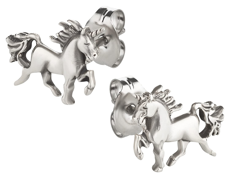 Pendientes, Unicornio, Plata 925