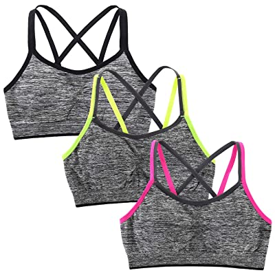 Peachat Sports Bra for Women Yoga Bra Strappy Light Support Bright Straps Removable Padded Seamless Workout Fitness at Women's Clothing store