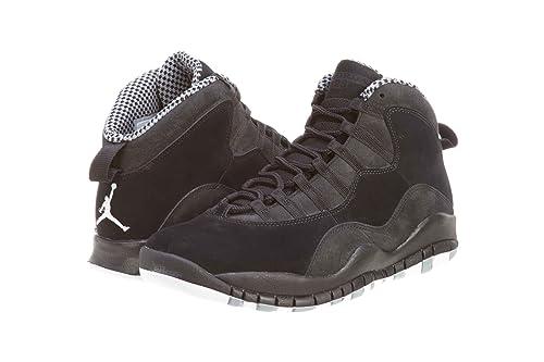 sports shoes a0189 17362 Air Jordan 10 Retro Negro Blanco Stealth  Amazon.es  Zapatos y complementos