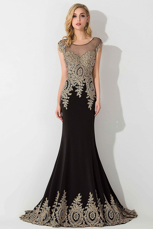 1d17c61561 Amazon.com  MisShow Women s Rhinestone Long Applique Trumpet Mermaid  Evening Prom Dresses  Clothing