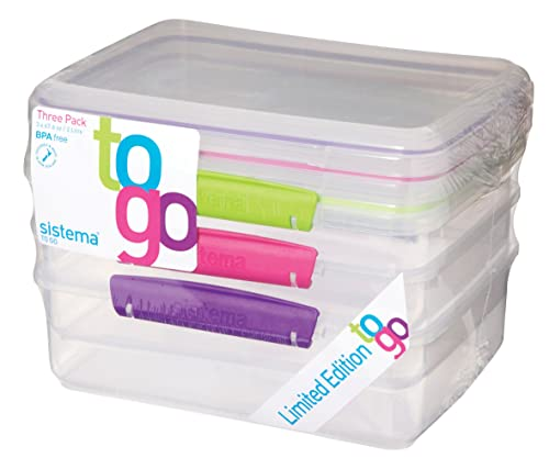 Sistema To Go Food Containers, Clear with Colour Clips, 2 L, Pack of 3