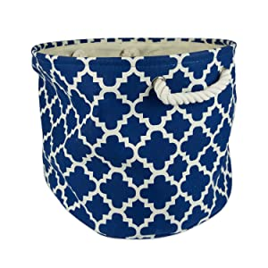 """DII Collapsible Polyester Storage Basket or Bin with Durable Cotton Handles, Home Organizer Solution for Office, Bedroom, Closet, Toys, Laundry (Medium Round – 12x15""""), Navy Lattice"""