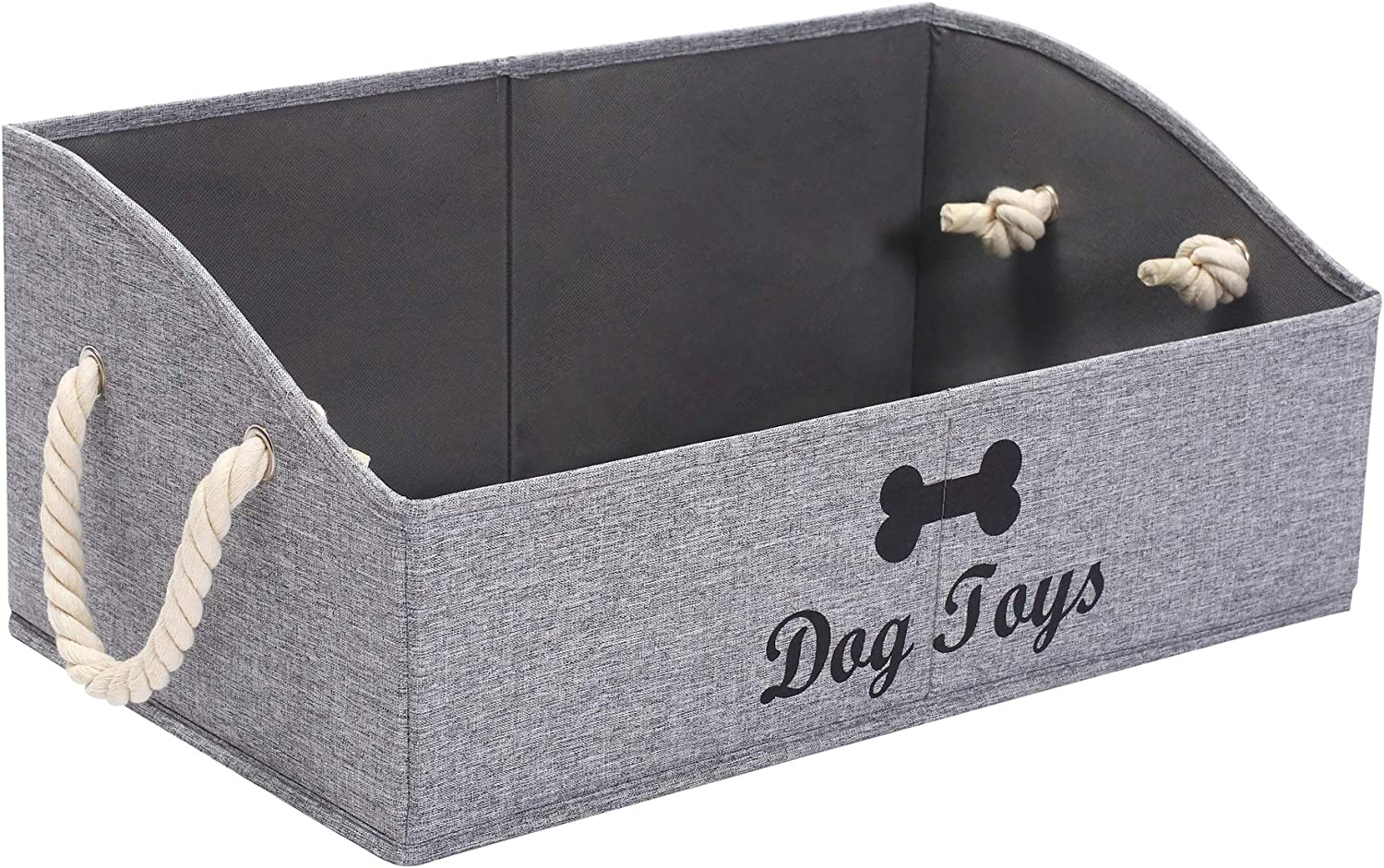 Morezi Canvas Pet Toy and Accessory Storage Bin, Basket Chest Organizer - Perfect for Organizing Pet Toys, Blankets, Leashes and Food 0605