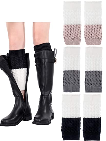 3 Paare Damen Stricken Boot Manschetten Stulpen Winter Kabel Häkeln