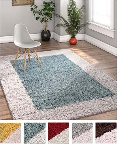 Porta Border Modern Geometric Shag 3×5 3 3 x 5 3 Area Rug Light Blue Ivory Plush Easy Care Thick Soft Plush Living Room