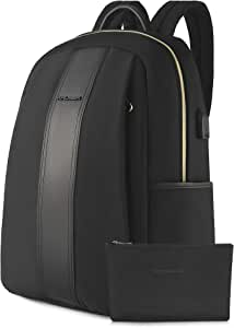 KROSER Laptop Backpack 15.6 Inch Computer Backpack Fashion School Backpack Water-Repellent Nylon Casual Daypack with USB Charging Port for Travel/Business/College/Women/Men-Black