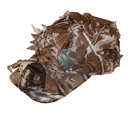 GUGULUZA 3D Leaves Camo Hats Camouflage Ghillie Cap for Hunting Reel Tree  Leaf Cap (Brown 1167aa4d164