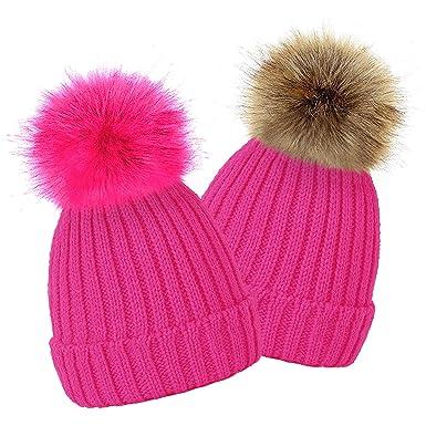 560c7de4a71 TOSKATOK® Kids Girls Winter Beanie Bobble Hat with Detachable Changeable Faux  Fur Pom Pom  Amazon.co.uk  Clothing