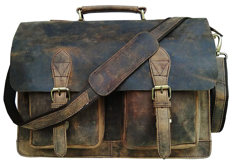 Cuero Retro Buffalo Hunter Leather Laptop Messenger Bag Office Briefcase College Bag (18 inch) by cuero (Image #2)