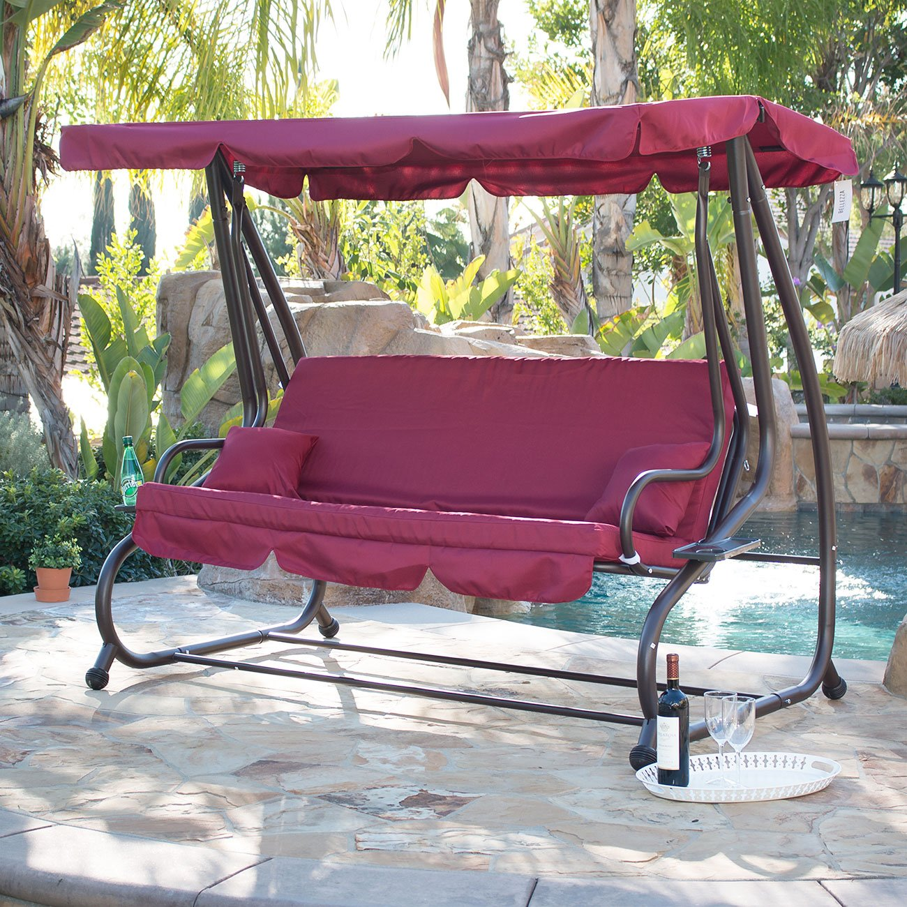 amazon     belleze outdoor canopy porch swing bed hammock tilt canopy with steel frame  burgundy    garden  u0026 outdoor amazon     belleze outdoor canopy porch swing bed hammock tilt      rh   amazon