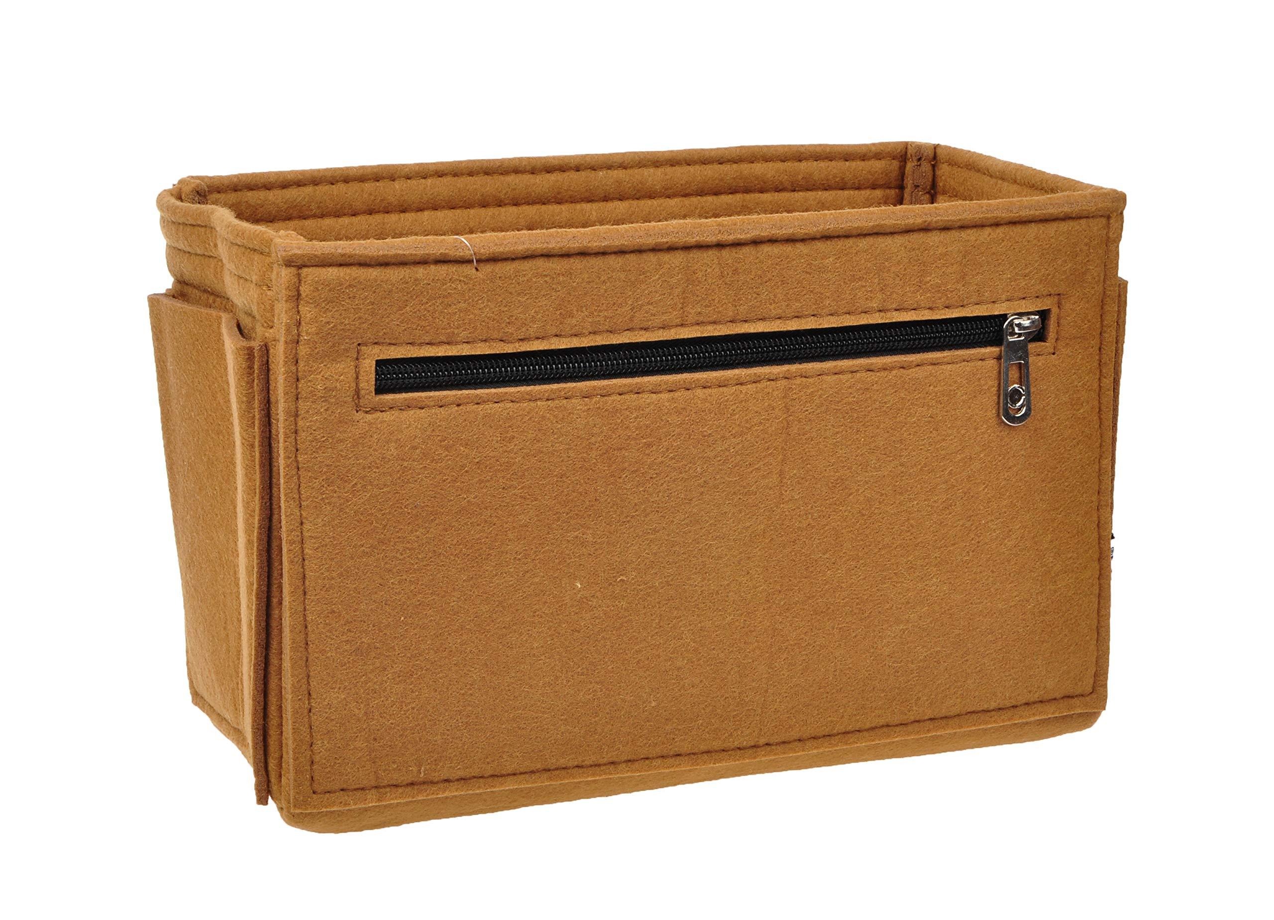 Vercord Felt Purse Handbag Pocketbook Tote Insert Organizer Bag Shaper In Bag Multi-Pockets Brown Medium Zipper