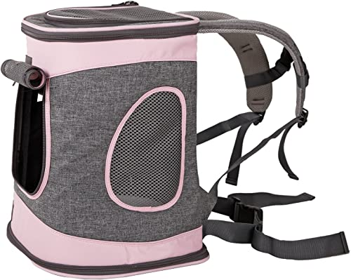 Petsfit 17 H x13 L x11 D Inches Comfort Dogs Carriers Backpack,Hold Pets Up to 15 LBS,Go for Walk, Hiking and Cycling Grey and Pink
