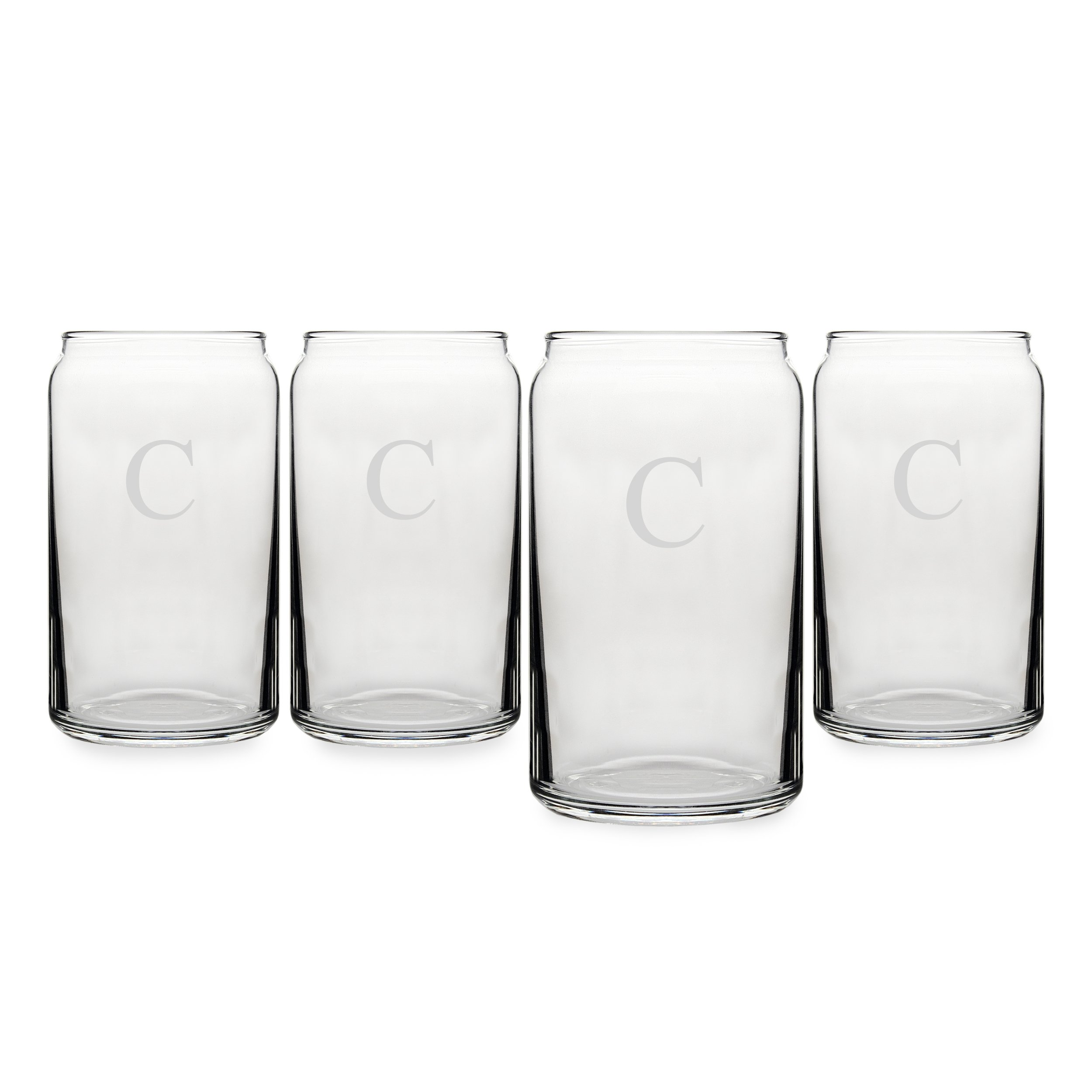 Cathy's Concepts Personalized Craft Beer Can Glasses, Set of 4, Letter C