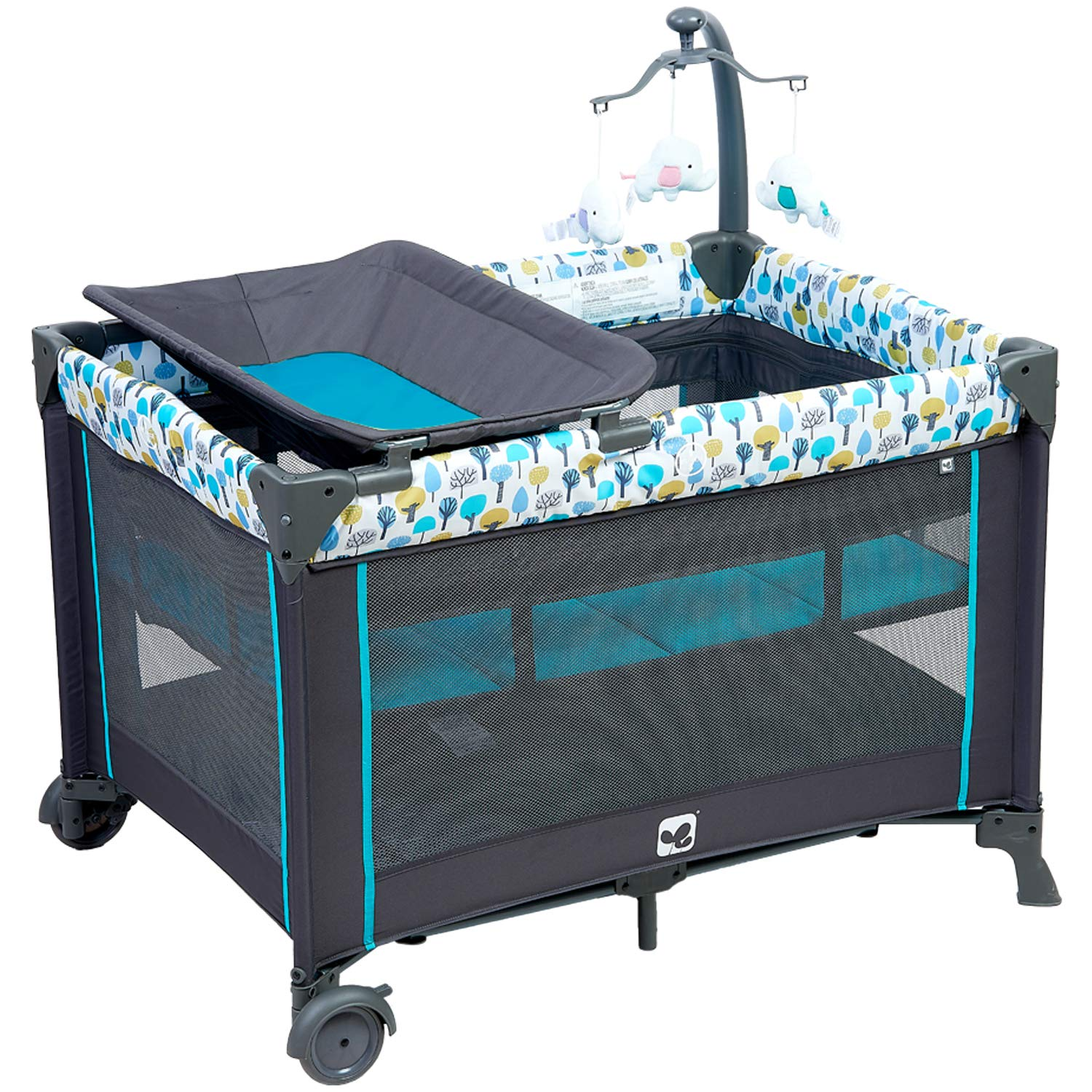 Portable Playard,Sturdy Play Yard with Comfortable Mattress and Changing Station (Blue&Green)
