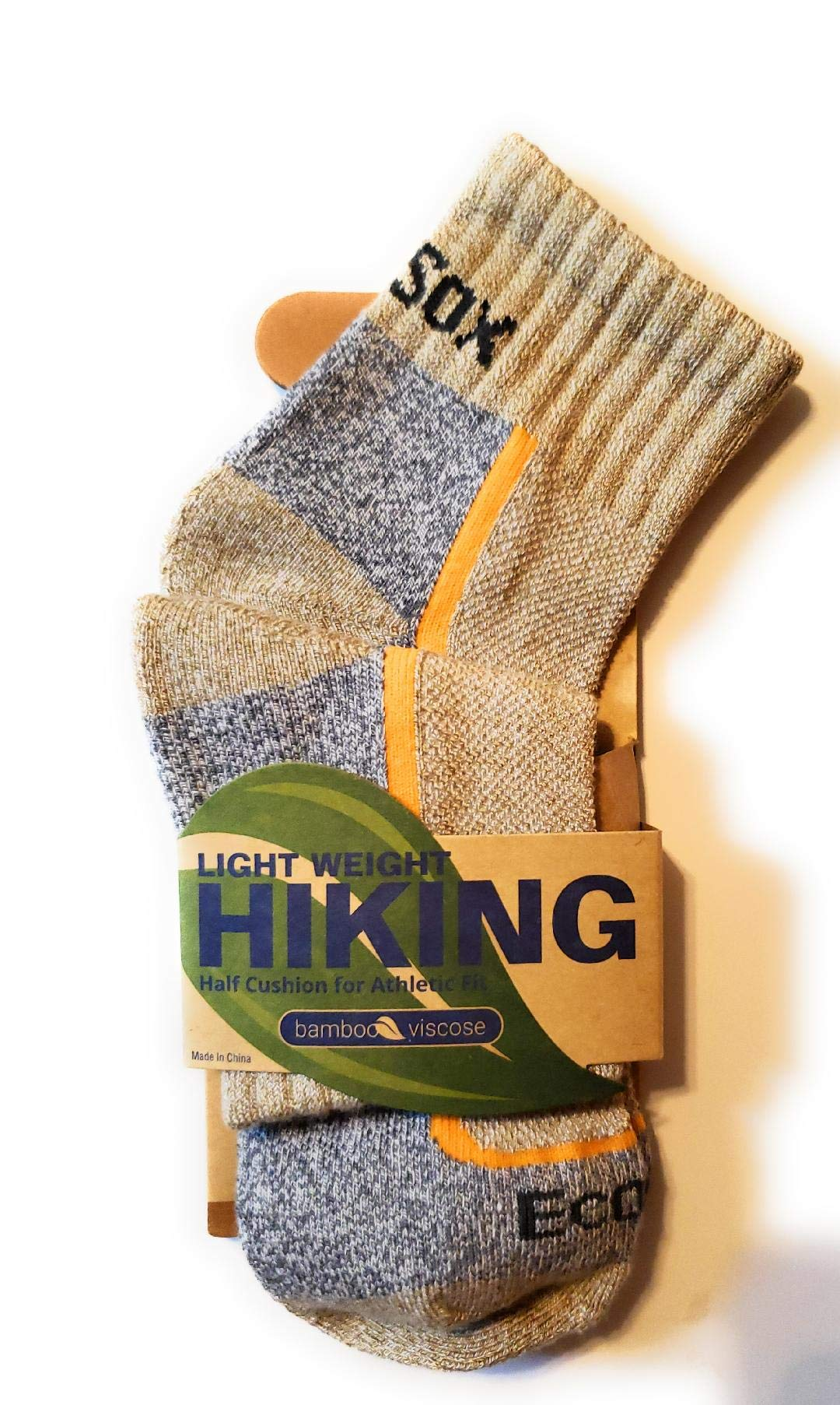 EcoSox Bamboo Viscose - Active Sport Light Weight Quarter Hiking Sock - [ Quanity options ] (Medium 9-11 [one pair], Tan/Grey) by Ecosox