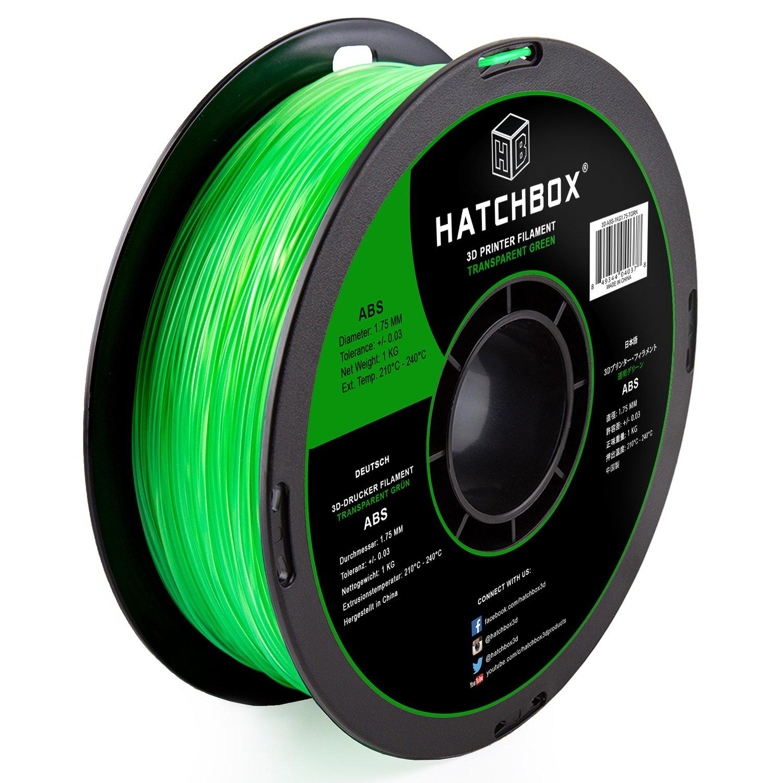 HATCHBOX ABS 3D Printer Filament, Dimensional Accuracy +/- 0.03 mm, 1 kg Spool, 1.75 mm, Transparent Green