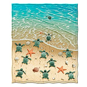 """Dawhud Direct Super Soft Full/Queen Size Fleece Blanket, 75"""" x 90"""" (Turtles on The Beach)"""