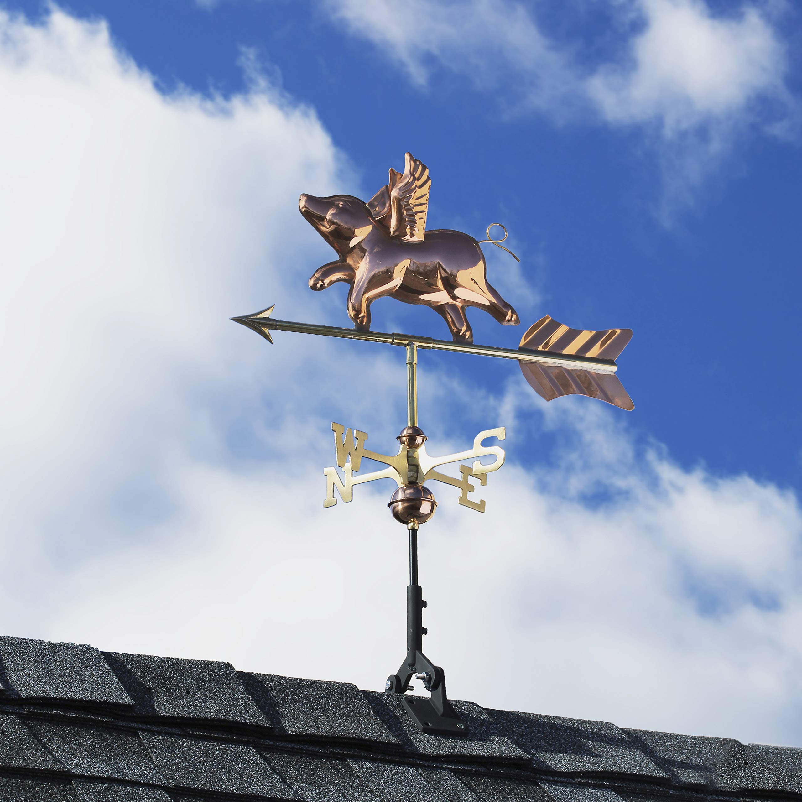 Good Directions 8840PR Flying Pig Cottage Weathervane, Polished Copper with Roof Mount by Good Directions (Image #4)
