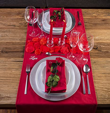 LOVERSpack Romantic Pack Hathor Rojo/Plata - con Este Pack romántico podrás Decorar tu Mesa y sorprender a tu Pareja con una Cena romántica en casa o en un Hotel. ¡Regala Momentos Especiales!: