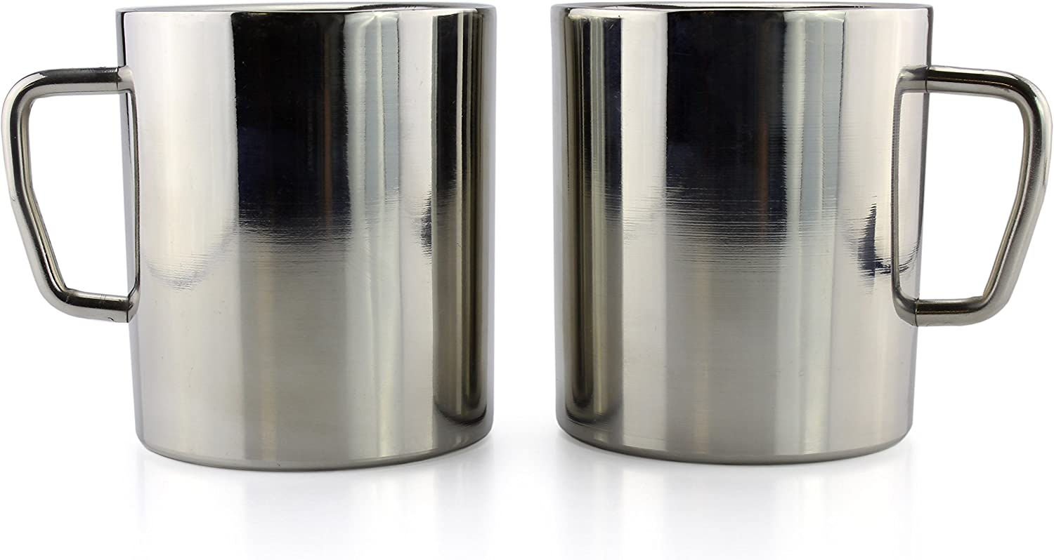 Stainless Steel Double Wall Mugs (2-Pack); For Kids, Camping, Etc. 10-Ounce Capacity Brushed Metal Coffee Cups w/Double Wall Insulation